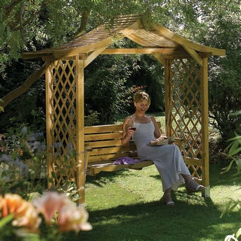 arbour swing seat lattice sided wooden garden swing arbour seat from