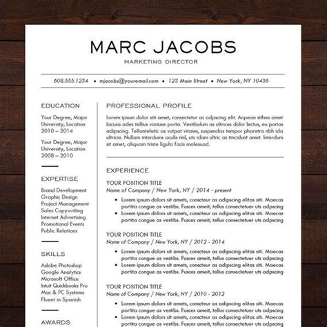 Resume Templates Modern Beautiful And Sleek Resume Template Cv Template For Ms Word Professional Resume Design In