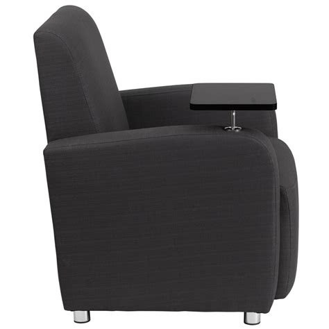 recliner with tablet arm gray fabric guest chair with tablet arm and chrome legs