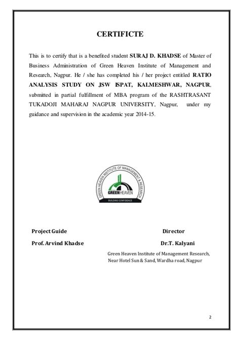 Mba Ratio Analysis Project by Ratio Analysis Project Suraj Khadse