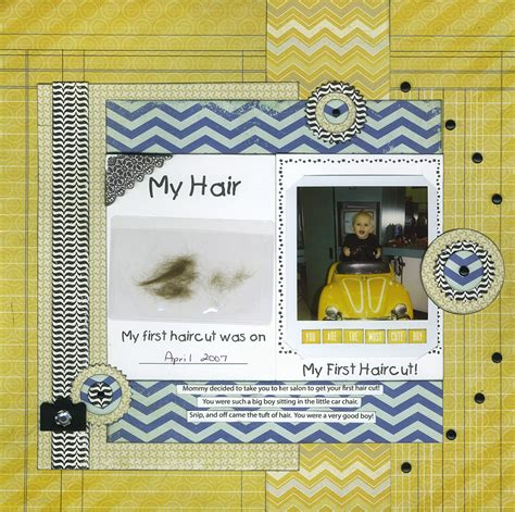 scrapbook layout for first haircut my first haircut scrapbook com baby scrapbooking