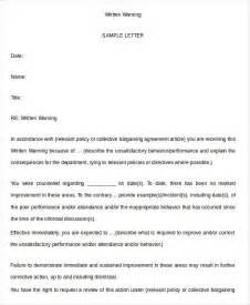 written warning template for attendance written warning template 9 free pdf word documents