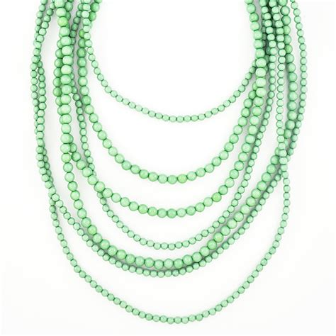 multi strand beaded statement necklace mint necklace by