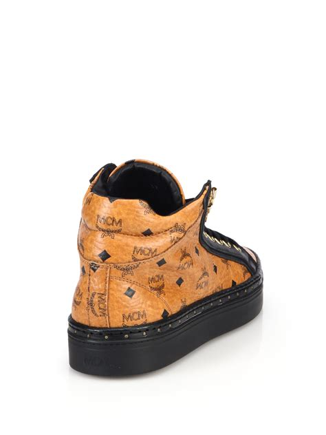 mcm sneakers for mcm coated canvas mid top sneakers in brown for lyst