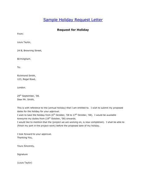 Request Letter Writing Format Vacation Leave Letter Format Best Template Collection