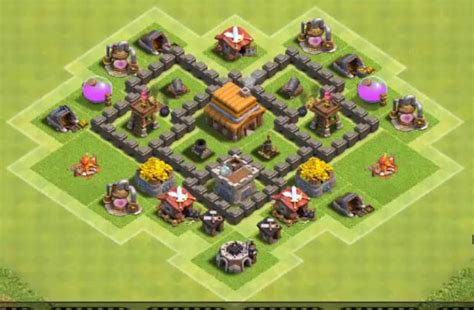 layout coc town hall level 4 top 15 best town hall 4 war base farming trophy layouts