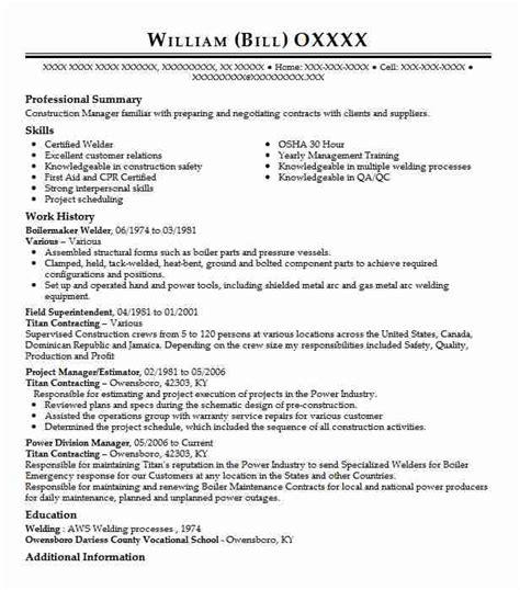 boilermaker resume template boilermaker welder resume sle welder resumes livecareer