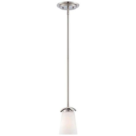 overland park light hanging hton bay 1 light brushed nickel mini pendant with wave