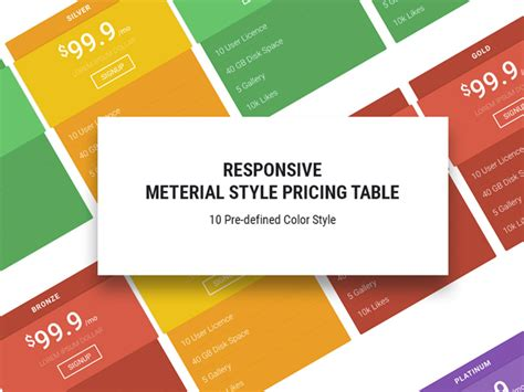 15 Best Free Html5 Css3 Pricing Tables Templates 2016 Template Html5