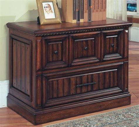Solid Wood Lateral File Cabinet In Walnut Stain W Two Solid Wood Lateral File Cabinet