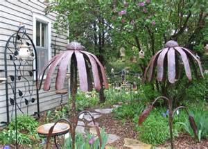 Metal Garden Flowers Sculpture Metal Garden Sculpture Decorative Flower Wrought Iron Rusted Flower Garden Stake