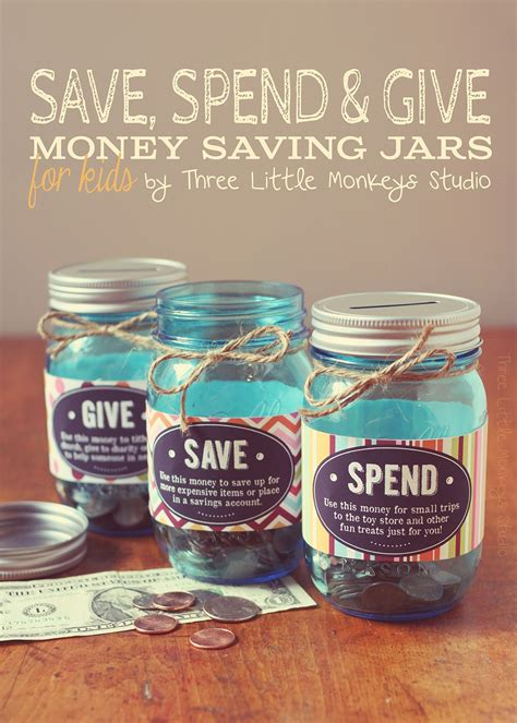 printable money jar labels save spend and give jars by three little monkeys studio