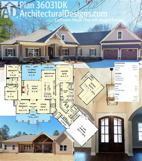 architectural house floor plans plan 36031dk craftsman house plan with angled garage