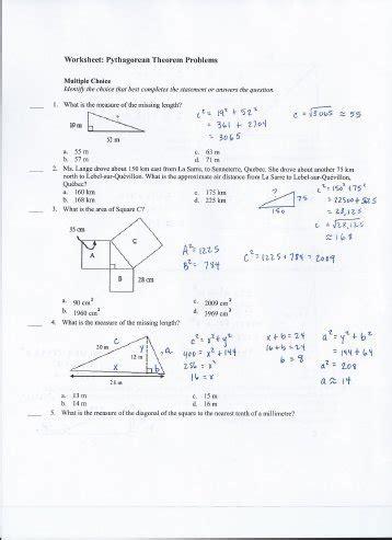 grade 9 math pythagorean theorem worksheets 5 7 the