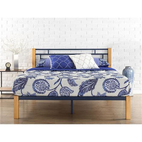 wood twin platform bed zinus epic metal and wood blue twin platform bed frame hd hbpbe 14t the home depot