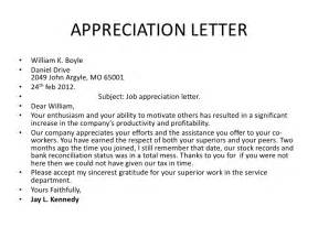 Appreciation Letter On Good Work Gallery For Gt Letter Of Appreciation Sample Good Work