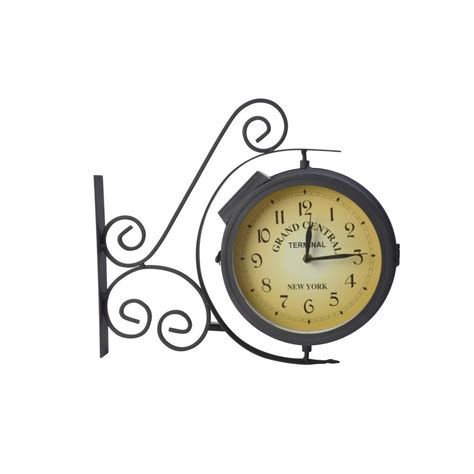 Lighted Outdoor Clock Upc 062964950050 Moonrays Outdoor Thermometer Outdoor Metal Black Led Wall Clock With