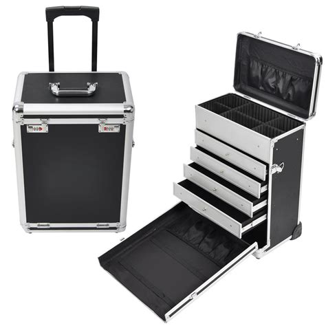 Hair Stylist Travel On Wheels by Rolling Aluminum Makeup Box W Drawers Code Lock