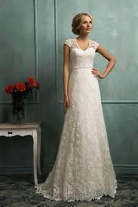 classic a line cap sleeve illusion back lace wedding dress
