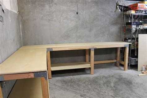 building a tool bench an l shaped garage workbench work spaces pinterest