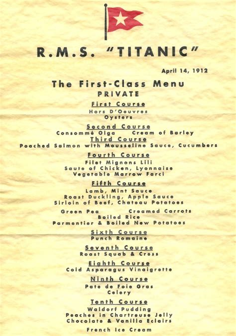 titanic second class menu 6 delicious meals eaten at historic events
