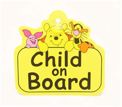 Baby On Board Sign Apple baby child on board sign winnie the pooh car window sign