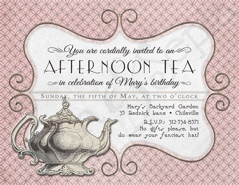 printable tea invitations template printable tea birthday invitation 4 25 x by cyanandsepia