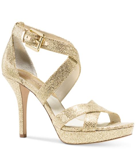 michael kors michael evie platform sandals in gold gold