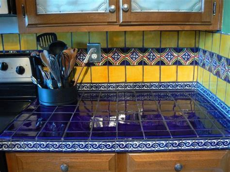 mexican tile kitchen ideas blue yellow mexican tiles kitchen countertop and
