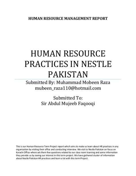 Mba In Human Resource Management In Pakistan by Human Resource Practices In Nestle Pakistan