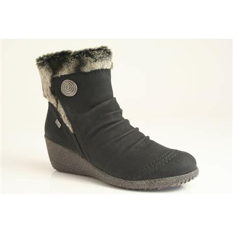 rieker wedge ankle boot with zip in black riekertex