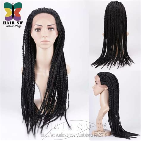 African Box Braided Front Lace Wigs | aliexpress com buy hand braided wig lace front edge