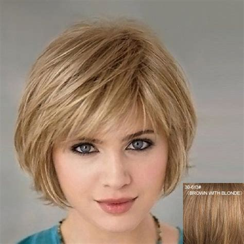 real hair wigs for women over 70 fluffy graceful natural wavy side bang short real human