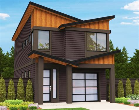 modern narrow house narrow lot modern house plan 85099ms architectural