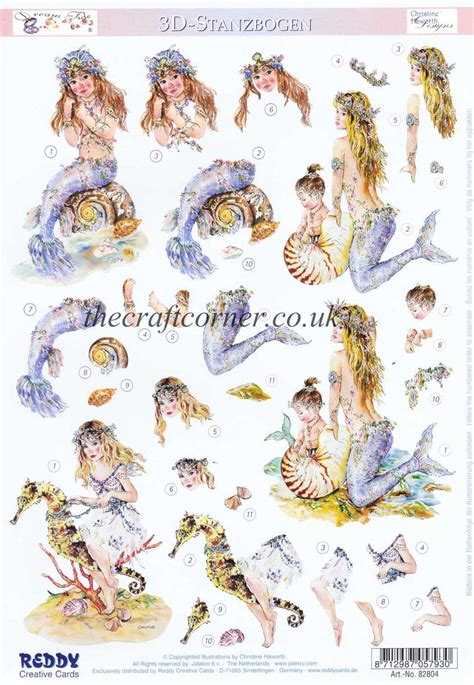 die cut decoupage sheets tide mermaid christine haworth designs die cut 3d