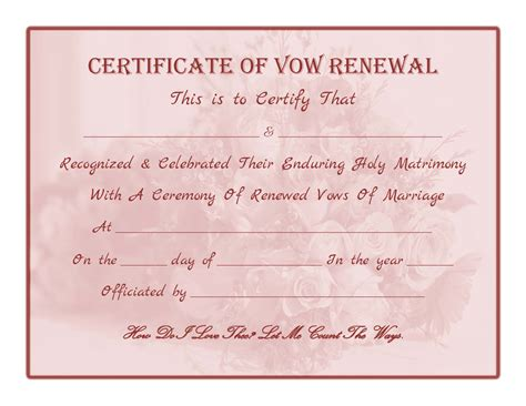 wedding vow template free printable vow renewal certificate all things
