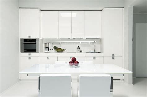 Modern White Gloss Kitchen Cabinets Kitchen High Gloss White With Modern Dining Setting And Minimal Accessorizing Interior Design
