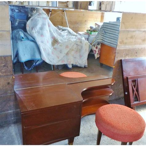 mid century modern mahogany makeup vanity chairish