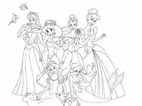 Free Coloring Pages Of All The Princess Together All Disney Princesses Together Coloring Pages