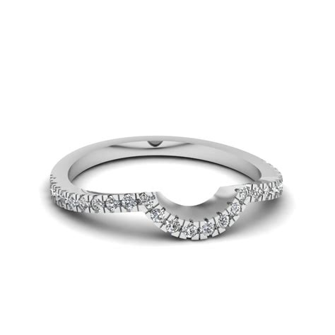 Wedding Bands Gold Diamonds by Pave Curved Womens Wedding Band In 14k White Gold