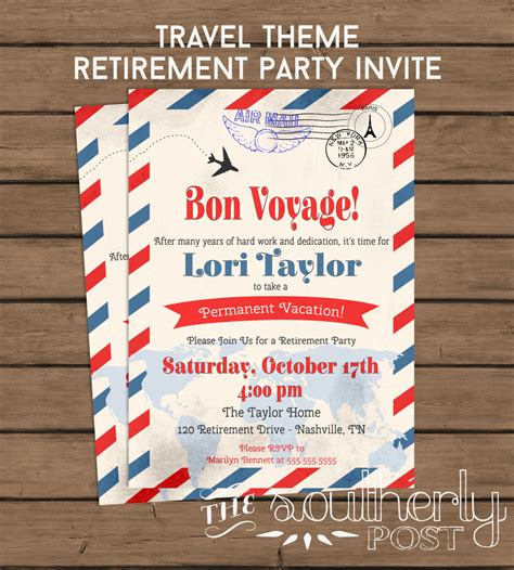 travel theme retirement party invitation bon voyage