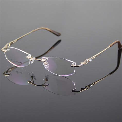 gold eyeglasses frame rimless glasses frame
