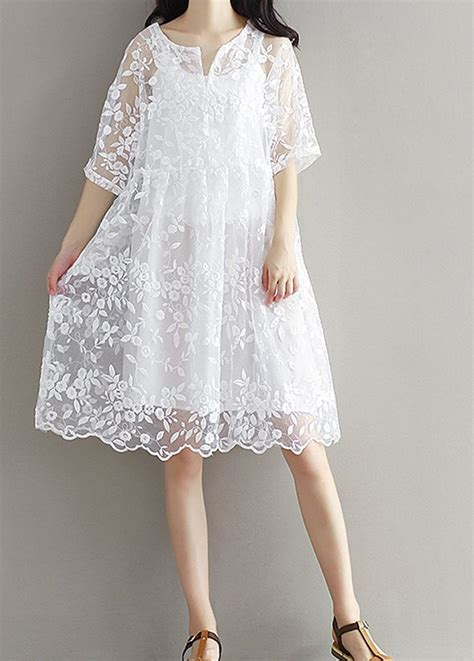 women loose fit  size white lace flower embroidered