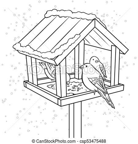 coloring pages of bird feeders winter bird feeder coloring book vector illustration