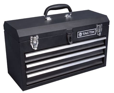 tactix 321102 3 drawer steel portable tool box 52cm