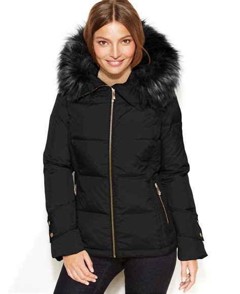 Lyst   Calvin Klein Hooded Faux Fur Trim Quilted Puffer