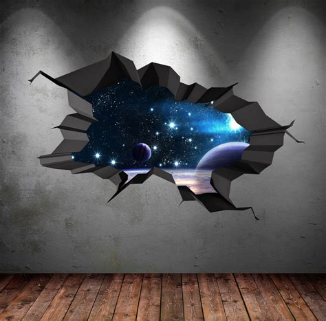 space wall stickers 3d space wall decal cracked space galaxy