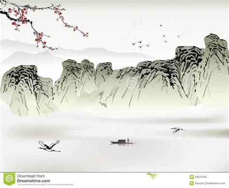 Japanese Blossom Tree chinese painting royalty free stock photo image 34515165