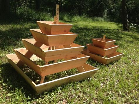 Wooden Pyramid Planter by Pyramid Planter 3 Tier Herb Garden Strawberry Planter