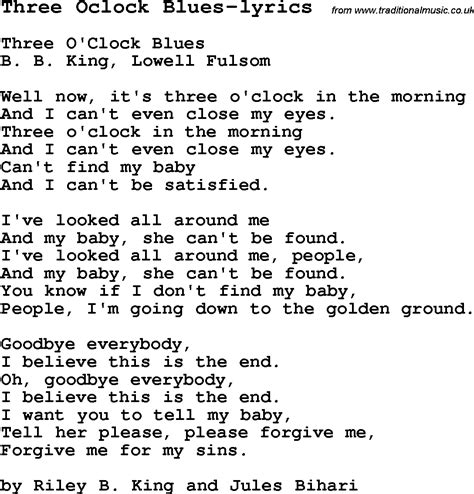 blues lyrics blues guitar lesson for three oclock blues lyrics with